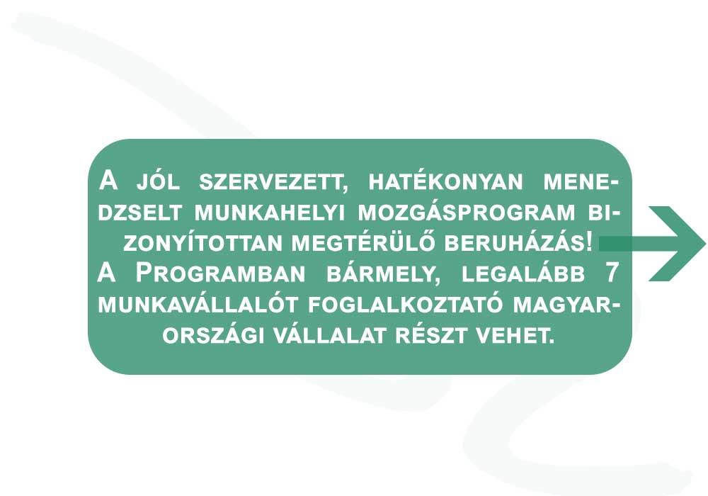 A jól szervezett, hatékonyan menedzselt munkahelyi mozgásprogram bizonyítottan megtérülő beruházás! A Programban bármely, legalább 7 munkavállalót foglalkoztató magyarországi vállalat részt vehet.