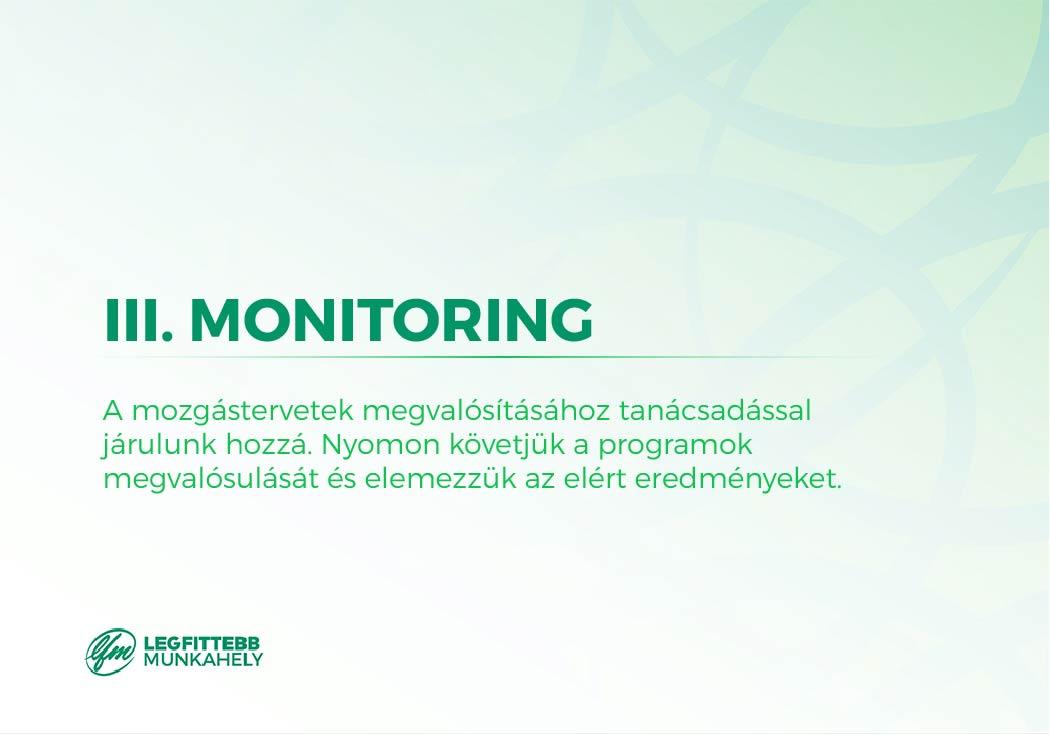 3. Monitoring: a mozgástervetek megvalósításához tanácsadással járulunk hozzá, nyomon követjük a programok megvalósulását, elemezzük az elért eredményeiteket és a megvalósulásukat.
