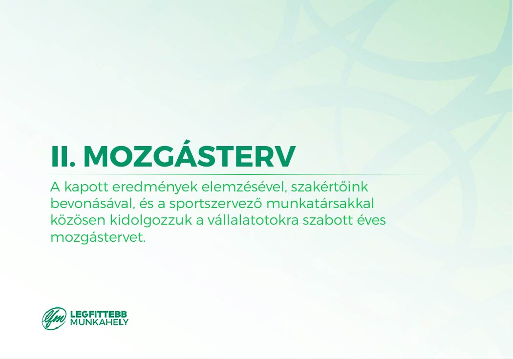 2. Mozgásterv összeállítása: a kapott eredmények elemzésével, szakértőink bevonásával, és a sportszervező munkatársakkal közösen kidolgozzuk a vállalatotokra szabott éves mozgástervet.