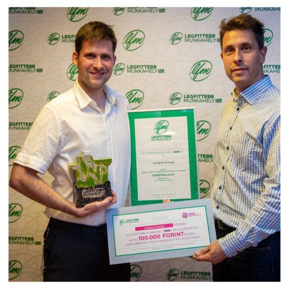 ALegfittebb Munkahelyek 2019 díj nyertese Középvállalat kategóriában: evopro Holding Zrt.